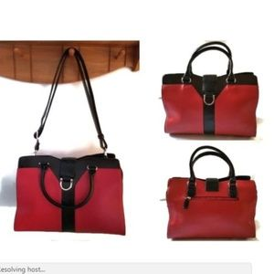 Dasein Red Satchel Handbag Crossbody Purse